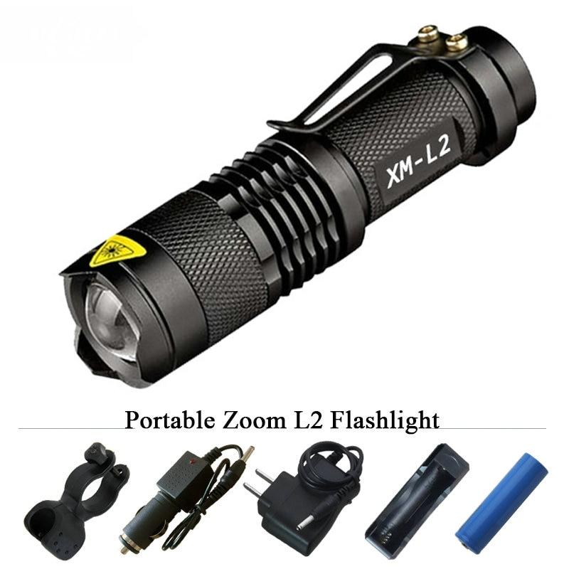 Portable 3800 Lumen Led Torch CREE XM-L2 Flashlight Tactical Lantern 5 Mode Led Waterproof 18650 Rechargeable Battery Flashlight