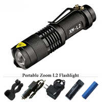 Portable 3800 Lumen Led Torch CREE XM-L2 Flashlight Tactical lantern 5 mode led waterproof 18650 rechargeable battery flashlight