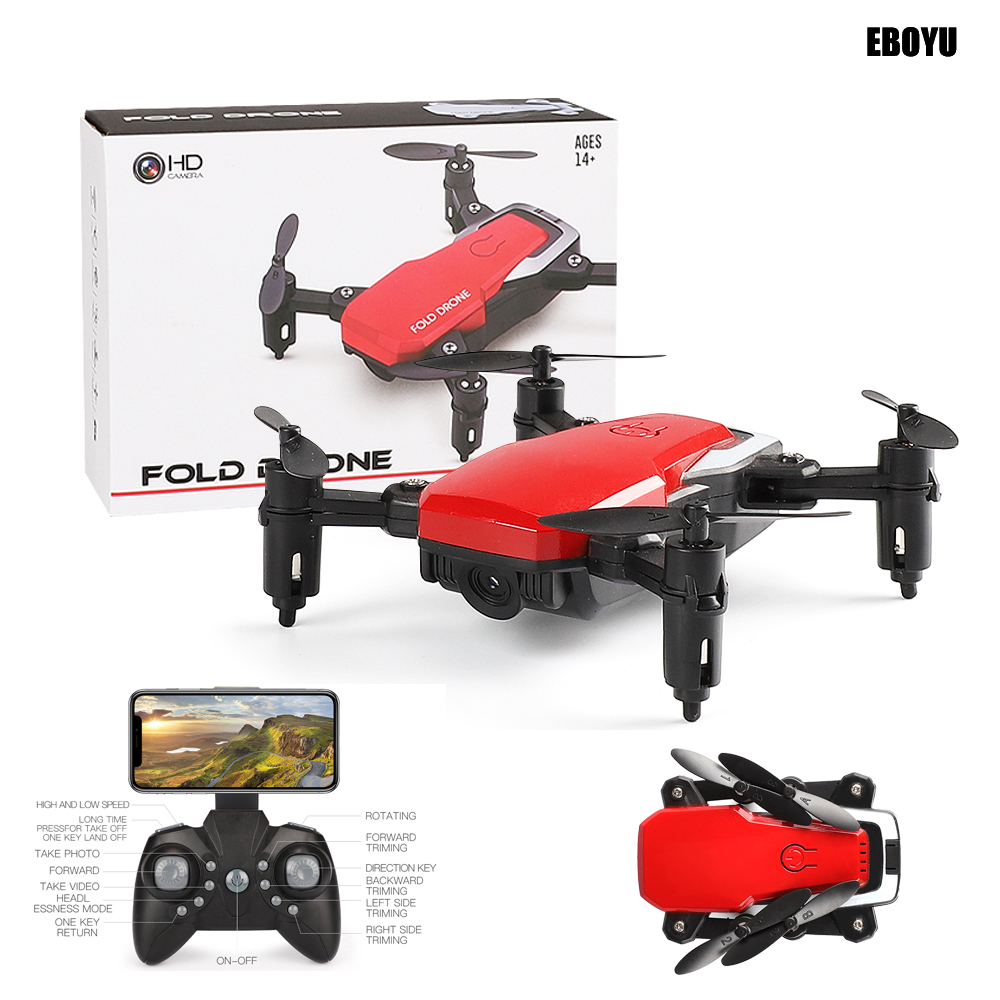 EBOYU LF606 2.4Ghz Mini Fold Drone 2.0MP / 0.3MP WiFi FPV RC Drone Altitude გამართავს Headless Mode One Key Return RC Quadcopter RTF