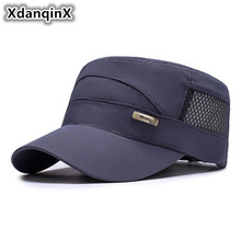 XdanqinX Mens Hat Mesh Breathable Military Hats Summer Adjustable Size Simple Brand Flat Top Cap For Men Snapback Dads