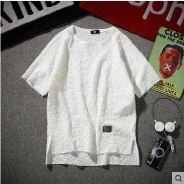 Plus Size M~5XL! New 2019 Men's clothing summer wrinkle arder round collar T-shirt costumes