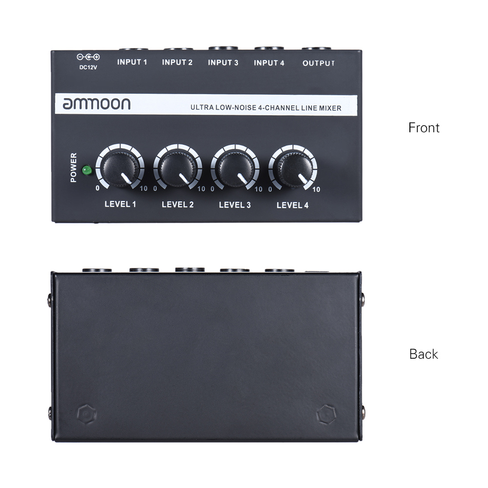 Image 2 - ammoon MX400 4 Channels Mixer Ultra compact Low Noise 4 Channels Line Mono Audio Mixer with Power Adapter-in Electric Instrument Parts & Accessories from Sports & Entertainment