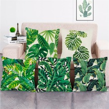Frigg Tropical Plants Cushion Cover Sofa 45x45cm Green Leaves Throw Pillow Covers  Linen Palm Leaf Decorative Pillow Cases цены