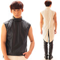Fashion Black And White Men Slim Casual Singer Costume Male Ds Dj Performance Wear Magic Tuxedo Vest Cutout Hollow Zipper Vests