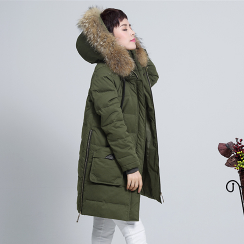 Plus Size Women Down & Parkas Jacket New Winter Jacket Coat Middle-Aged Mother Women Fur Collar Hooded Thick Warm Cotton Jacket