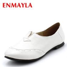 Enmayla/Самые популярные Портативный женские лоферы повседневная обувь женские балетки на плоской подошве женская обувь без застежек на плоской подошве большой Размеры 34–43