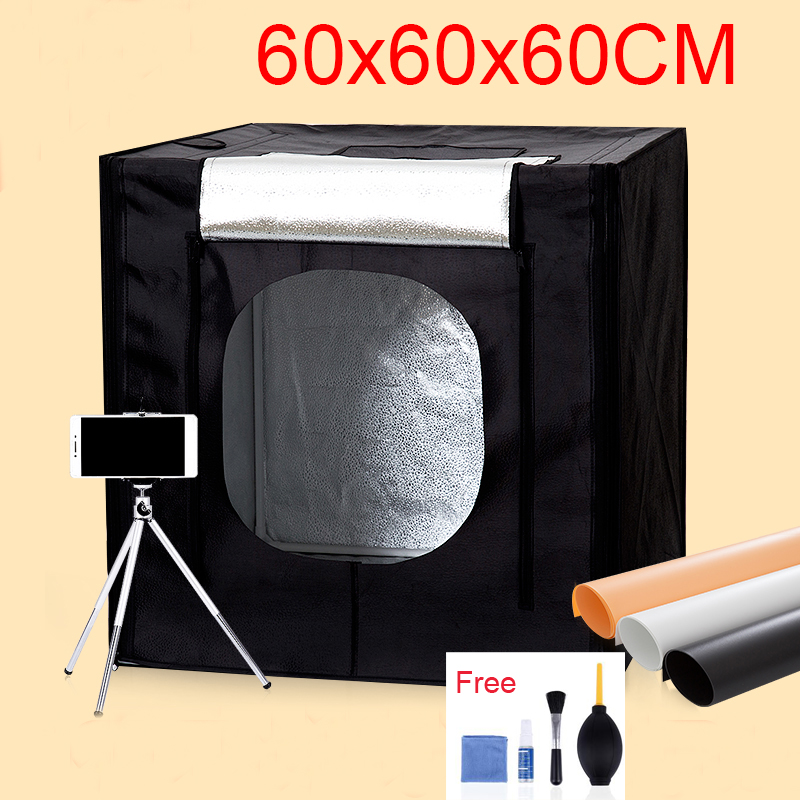 60*60*60CM LED Photo Studio Light Tent Shooting Softbox Photography Light Box Kit With Free Gift +Portable Bag +Dimmer Switch puluz 40 40cm 16light photo studio box mini photo studio photograghy softbox led photo lighting studio shooting tent box kit
