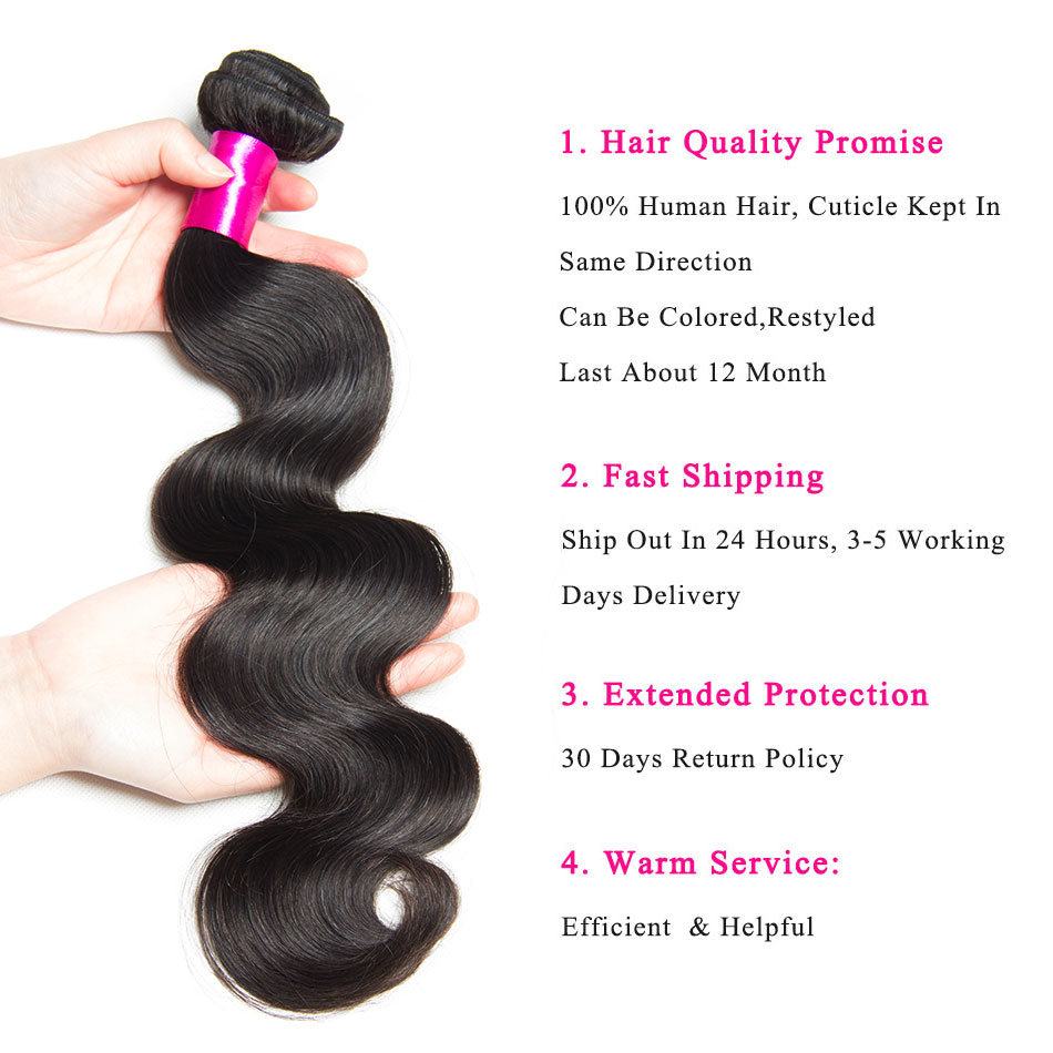 Image 5 - Alibele Brazilian Body Wave Bundles With Closure Hair Weave Bundle With Closure Remy Human Hair 3 Bundles With Lace Closure-in 3/4 Bundles with Closure from Hair Extensions & Wigs