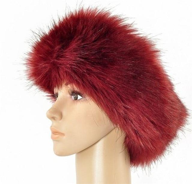 82b84f3390389 Yyun Women Luxury Brand Russian Cossack Style Faux Fur Headband Winter  Adjustable Hair bands for Ski Hat