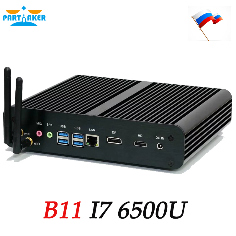 Intel Dual Core I7 6500U Fanless Mini PC Black Case Win10 Computer in Stock Ship  From Russia корпус in win emr035 silver black