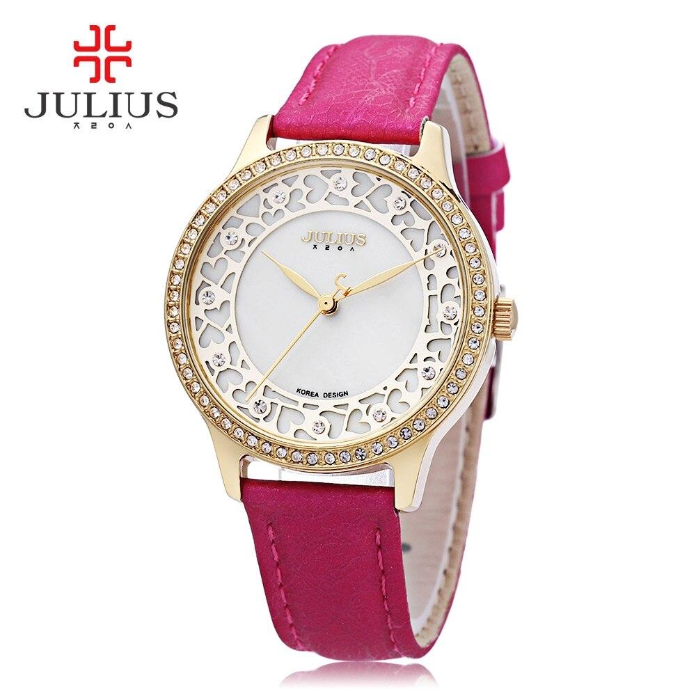 Julius Women Quartz Watch Artificial Diamond Bezel Hollow Heart Pattern Dial 3ATM Wristwatch fashion women watch inbuilt artificial diamond leather strap quartz wristwatch