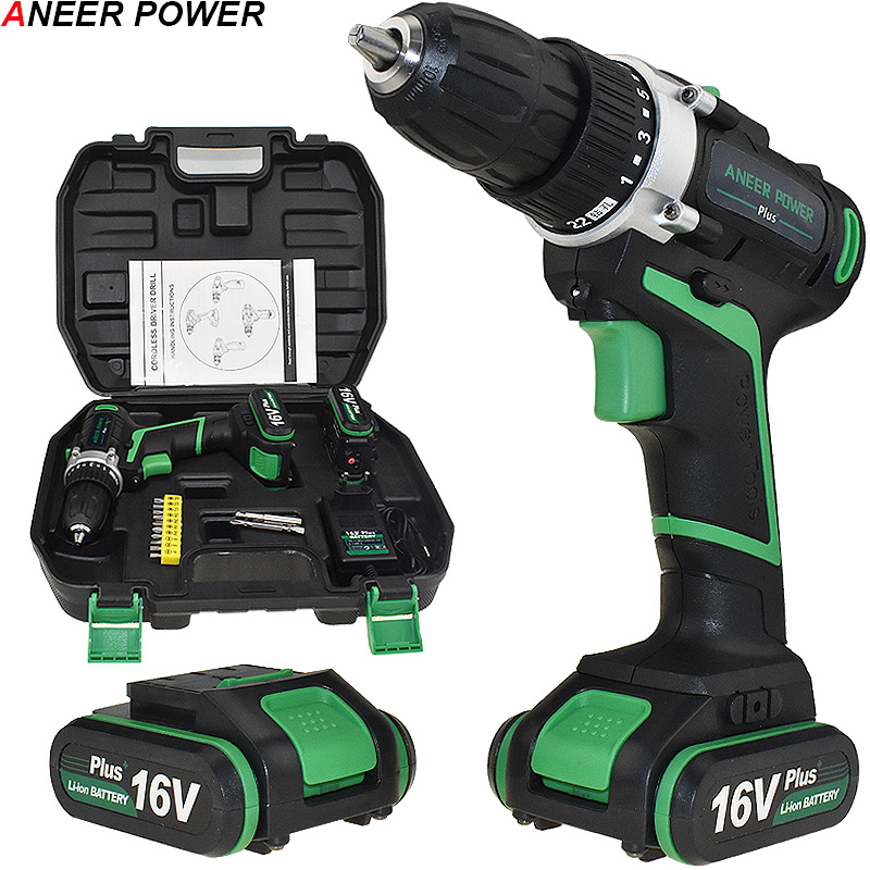 16V 2 Batteries Screwdriver Home DIY Power Tools Cordless Screwdriver Electric Drill Battery Drill Electric Mini Drill Drilling