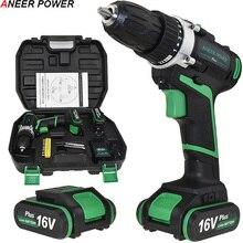 цена 16V 2 Batteries Screwdriver Home DIY Power Tools Cordless Screwdriver Electric Drill Battery Drill Electric Mini Drill Drilling онлайн в 2017 году