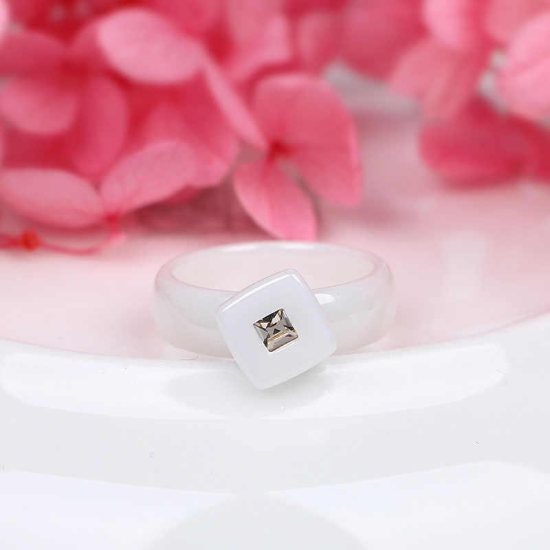 แบรนด์พิเศษออกแบบ 6 มม.สีขาวเซรามิคสีดำแหวนหมั้นแต่งงานแหวนผู้ชายผู้หญิงแหวนแฟชั่นคลาสสิก Anillos เครื่องประดับของขวัญ