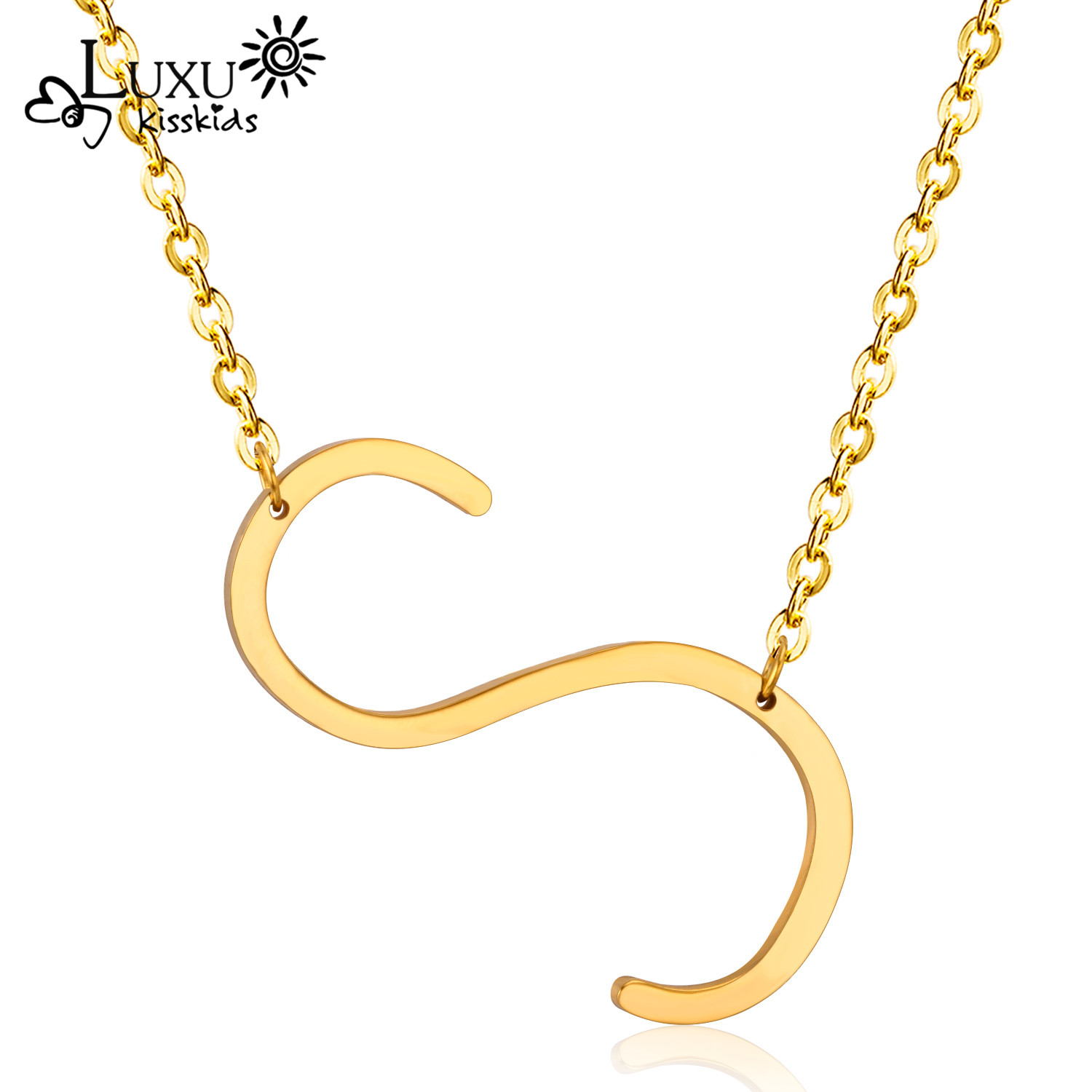 cool fashion jewelry letter s necklaces pendants alfabet initial stainless steel gold silver color choker necklace