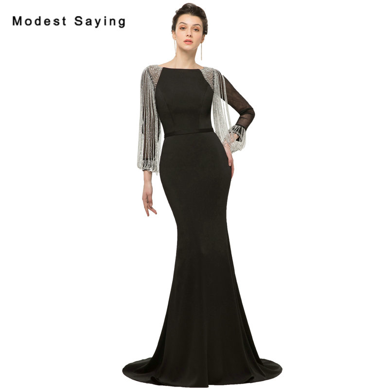 Modest Black Mermaid Crystal Tassel 3 4 Sleeves Evening font b Dresses b font 2018 Formal