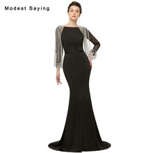 Modest Black Mermaid Crystal Tassel 3/4 Sleeves Evening Dresses 2018 Formal Engagement Party Prom Gowns vestido de festa longo