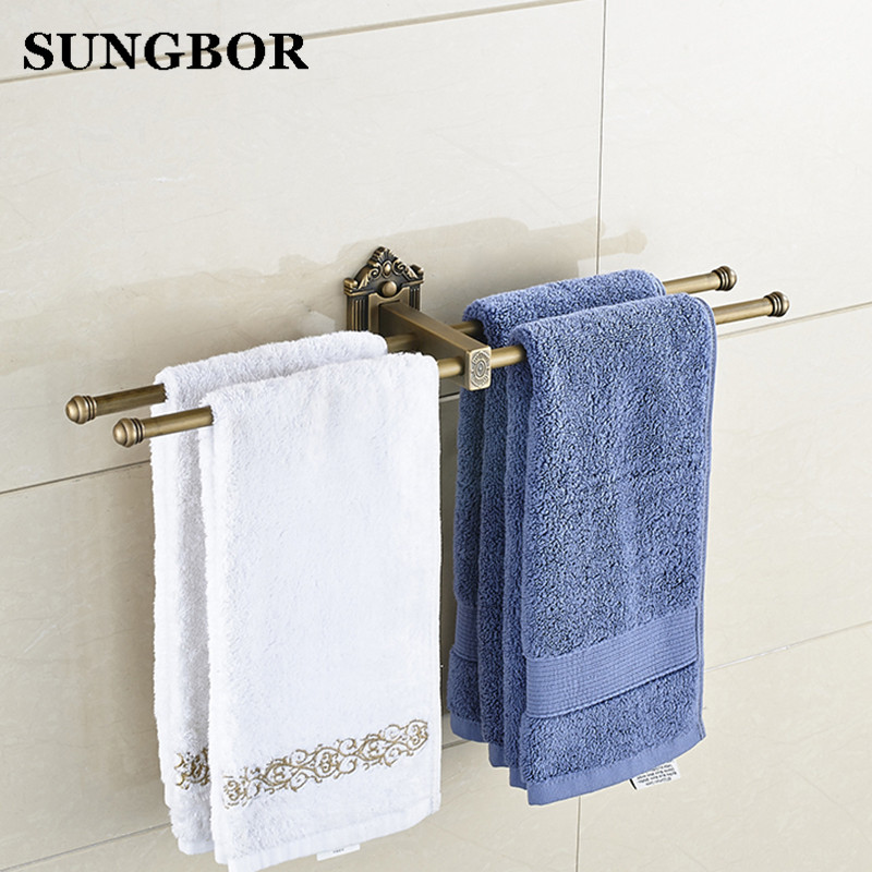 Bathroom accessories, High quality Double Towel Bar&Towel Rack /Antique Brass Finish Vintage Style Design HY-93815F maideer high quality european style golden brass ceramic towel rack single towel bar bathroom accessories