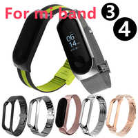 Miband 4 Strap For Xiaomi Mi band 3 Smart Bracelet Metal wristband Stainless Steel Strap For Xiaomi Mi band 4 Miband3 Smart band