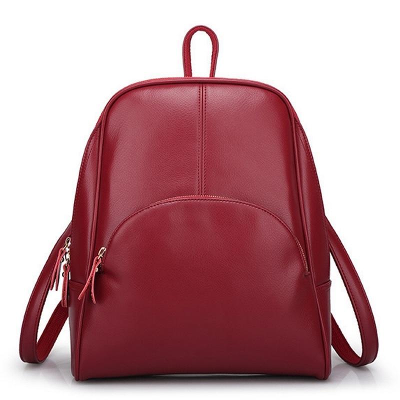 Design Oil Wax PU Leather Fashion Backpack Women School Bags Teenage Girls Candy Color Travel Back Bag Students Mochila Bagpack baijiawei fashion design men oil wax leather backpack men s school backpack