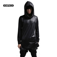 Men Long Sleeve Hooded T shirt Leather Splice Punk Tshirt Men Street Fashion Casual Hip Hop Slim Fit Tops Tees Shirts CT126