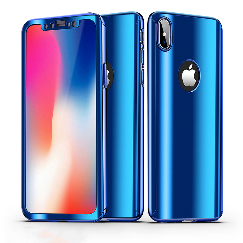 360 Full Cover Protective Case For iPhone X 8 8 Plus 6S Plating Mirror Plastic Hard PC Case For iPhone 7 7 Plus 6 Phone Case