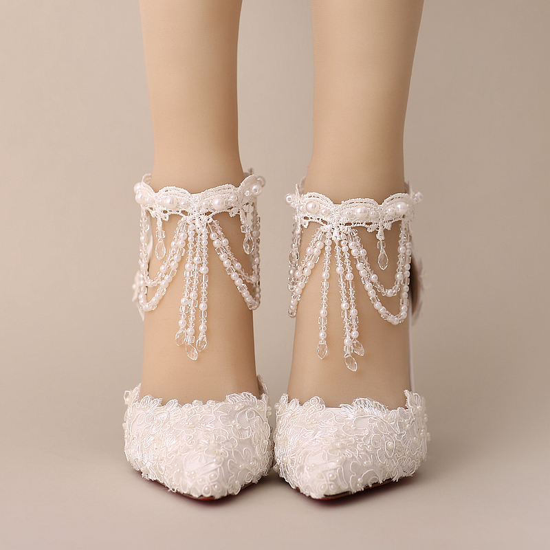 New arrival summer white pearl lace crystal bridal shoes tassel bracelet wedding shoes package with female