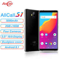 Allcall S1 5000mAh 3G Smartphone MTK6580 Quad Core 2GB 16GB Android 8.1 18:9 5.5 Inch 8MP+2MP Rear Dual-camera 3G Mobile Phone
