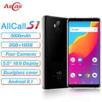 Allcall S1 5000mAh 3G Smartphone MTK6580 Quad Core 2GB 16GB Android 8.1 18:9 5.5 Pollici 8MP + 2MP Posteriore Dual-fotocamera 3G Del Telefono Mobile