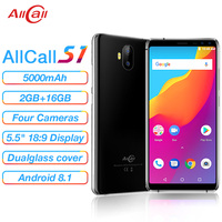 Allcall S1 5000mAh 3G Smartphone MTK6580 Quad Core 2GB 16GB Android 8.1 18:9 5.5 Inch 8MP+2MP Rear Dual camera 3G Mobile Phone