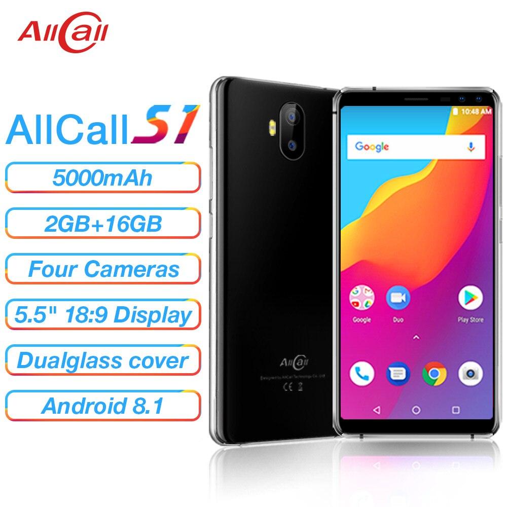Allcall s1 5000 mah 3g smartphone mtk6580 quad core 2 gb 16 gb android 8.1 18:9 5.5 Polegada 8mp + 2mp traseiro duplo-câmera 3g telefone móvel
