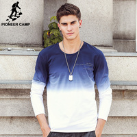 Pioneer Camp New Arrive Mens T Shirts Fashion O Neck Casual Long Sleeve T Shirt Gradient