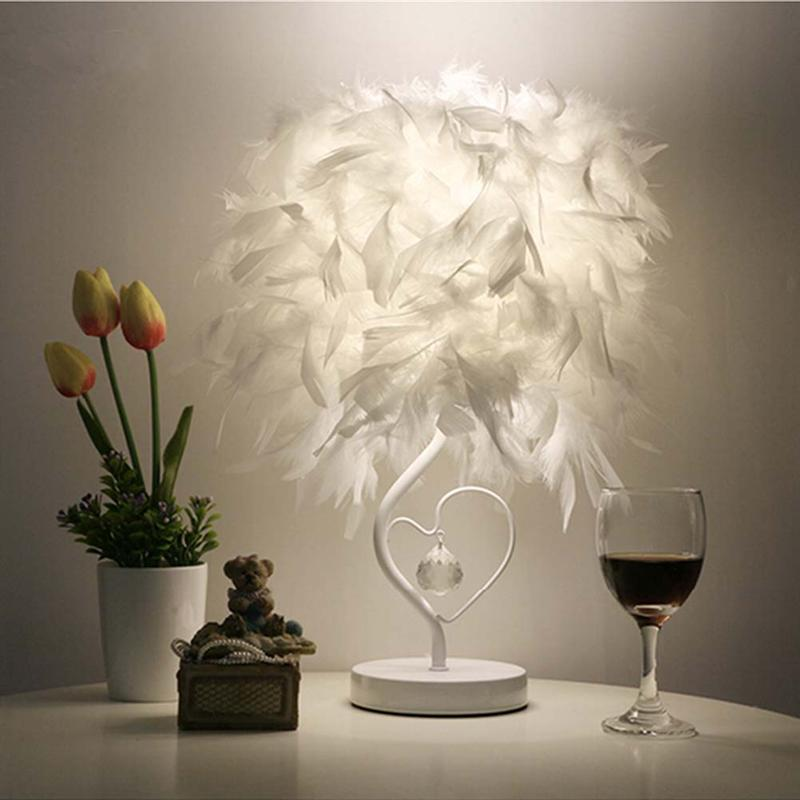все цены на Creative Night Light Heart Shape Feather Crystal Table Lamp Light for Bedside Reading Room Sitting Room Decoration