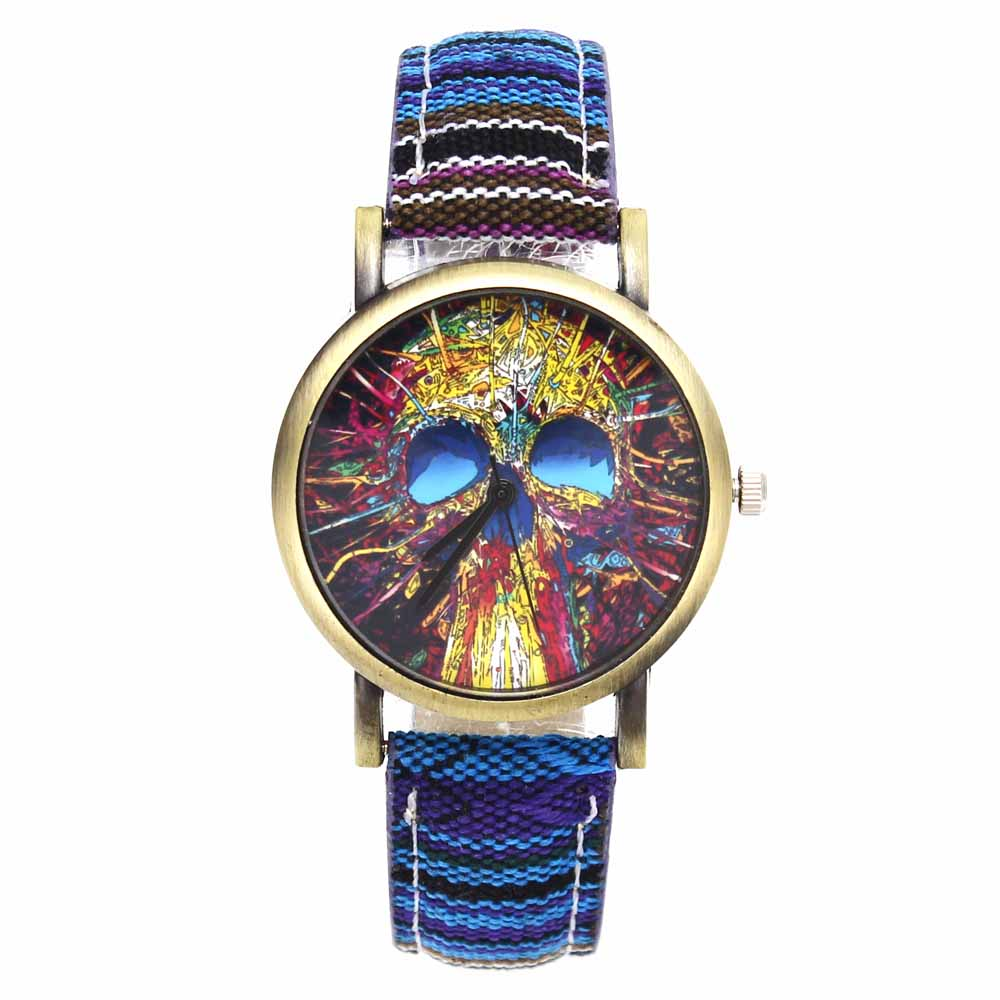 Fashion Head Head Devil Flower Skeleton Dial Watches Casual Men Women - Әйелдер сағаттары - фото 3