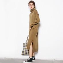Осень-зима Свитер с воротником платье для женщин; Большие размеры Для женщин макси вязаное платье vestidos длинный пуловер Платья для женщин трикотаж c3778