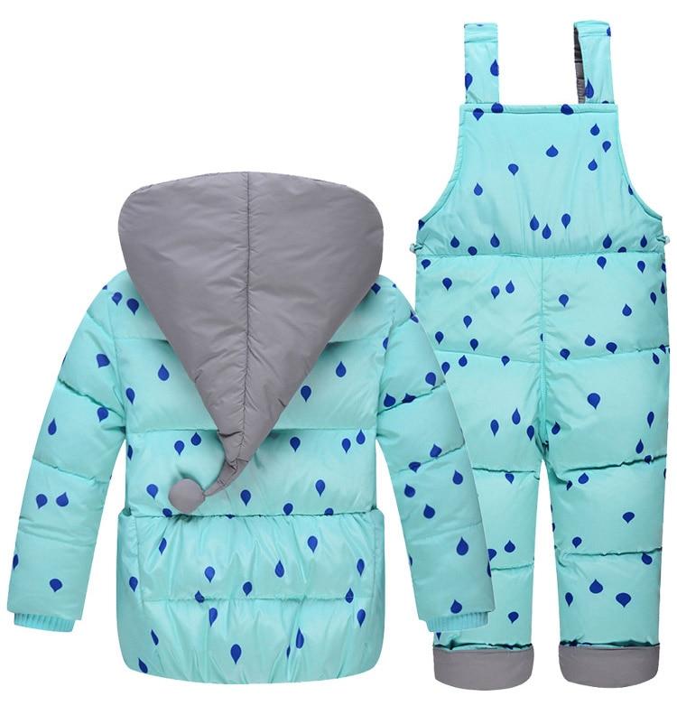 Vestes en duvet pour enfants costume la fille de la mode costume en plumes de canard blanc et pantalon avec deux ensembles de combinaison de ski froid et froid lourd - 2