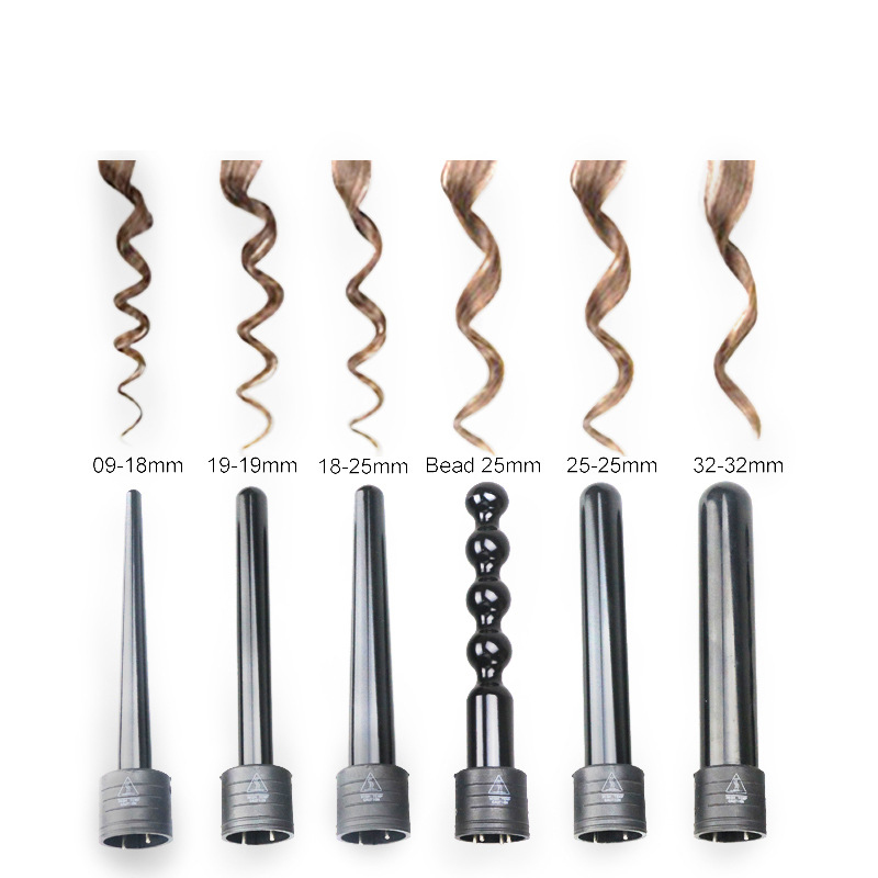 6 In 1 Hair Curlers Care Styling Curling Wand Electric Hair Curler Interchangeable 6 Parts Clip Hair Iron Set Styling Tool dodo 3 in 1 interchangeable curling wand hair curler iron ceramic curling irons hair styling tool electric hair curler comb set