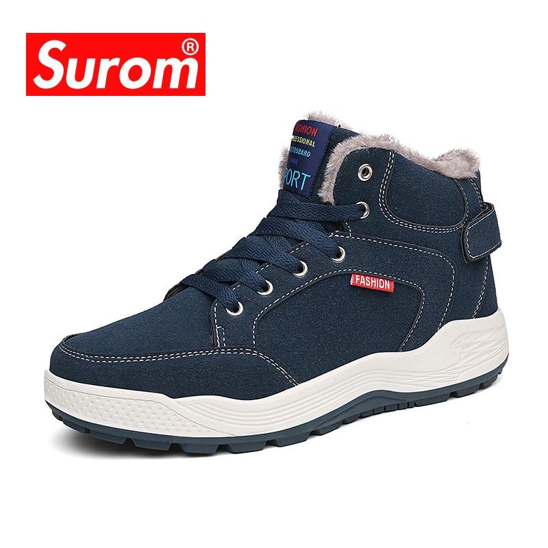 SUROM новые брендовые сапоги Для мужчин Большие размеры 39-48 теплые зимние ботинки модные плюшевые Для мужчин s ботильоны снежную погоду обувь