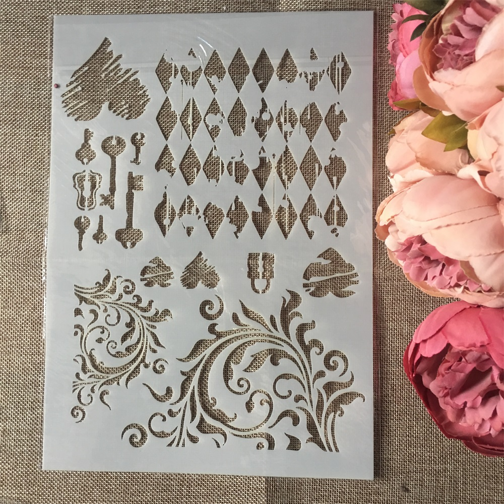 A4 Key Lock Heart DIY Layering Stencils Wall Painting Scrapbook Coloring Embossing Album Decorative Paper Card Template