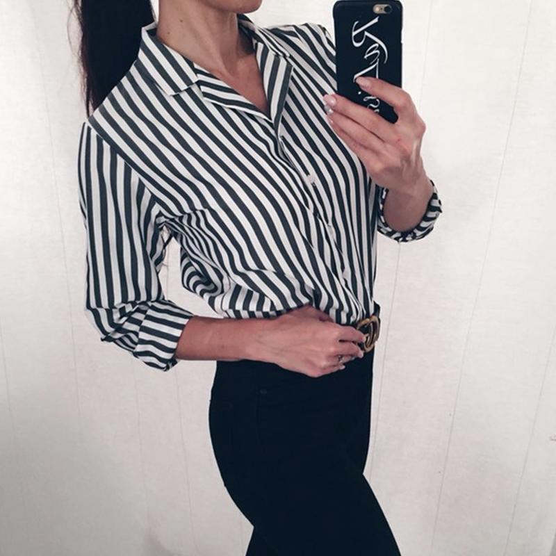 2863b6fe3 Товар Women Black And Red Striped Shirt Turn Down Collar Long Sleeve ...