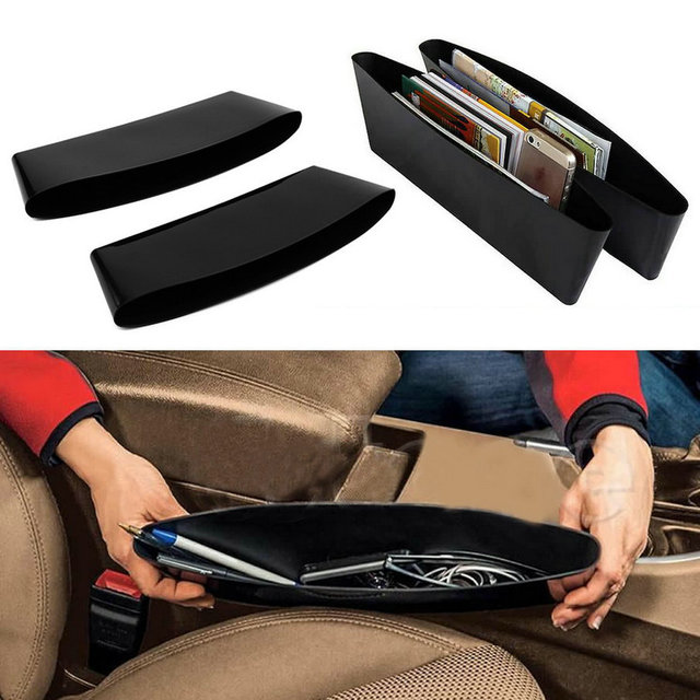 2 Pcs Auto Car Seat Gap Pocket Catcher Organizer Leak Proof Storage Box New Organizador