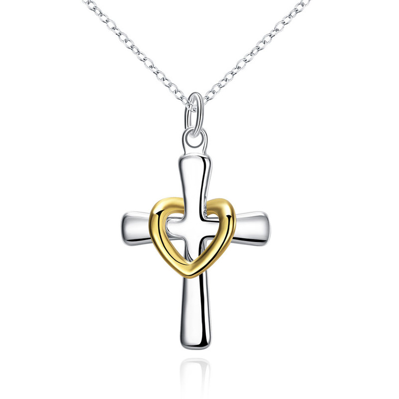 fe0d0d3c5 sale cheap hot silver cross pendant necklace fashion jewelry for men and  women classic charm style