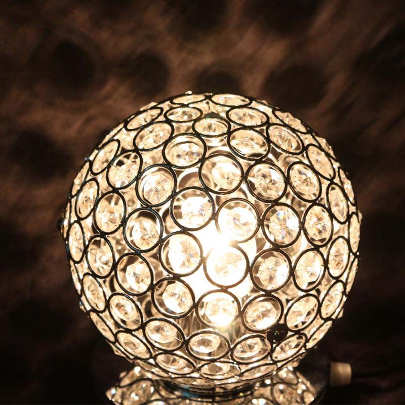 ФОТО Modern Luxurious Chrome Crystal Table Lamp Bedroom Light Bedside Lamp Ball Table Lamp Night Light