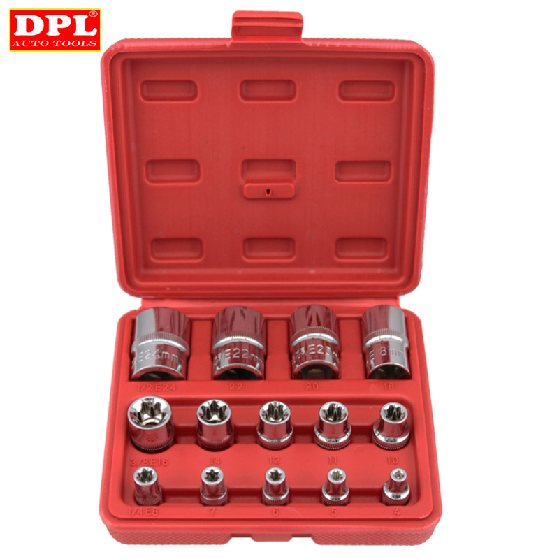 14 PC E Torx Star Female Bit Socket Set 1/2/3/8/1/4 Drive E4 -E24 milda new 14pcs set e torx star female bit socket set 1 2 3 8 1 4 drive e4 e24 repair tool hand tool set high quanlity