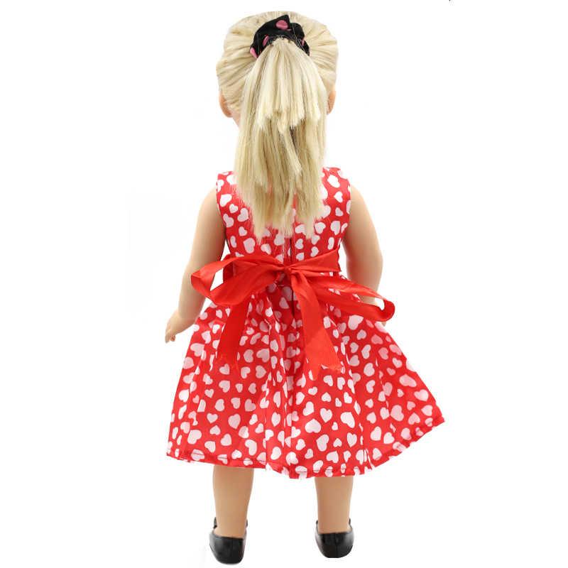 18 polegada Bonecas Menina Vestuário de Moda White Dot Roupas de Boneca Vestido de Teste Padrão do Amor Vermelho de 18 polegada Boneca Meninas de Vestido melhor Presente MG-111