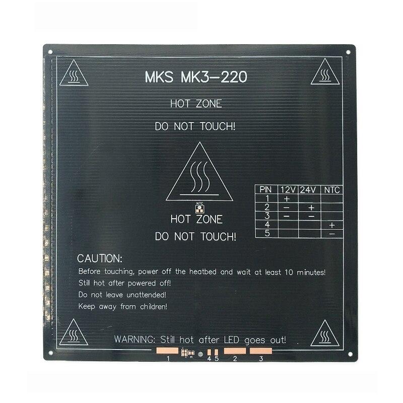 Actualizado, alta Temperatura de 120 grados 220*220*3mm 3D impresora aluminio MK3 HeatBed doble poder calor cama Alu fértil para hipercubo