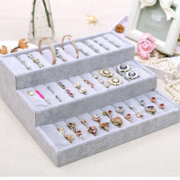 Three Step Elastic Cloth Tray Earrings Velvet Display Jewelry Storage Box Pure Color Lady Ring Storey Stairs Storage Tray Holder