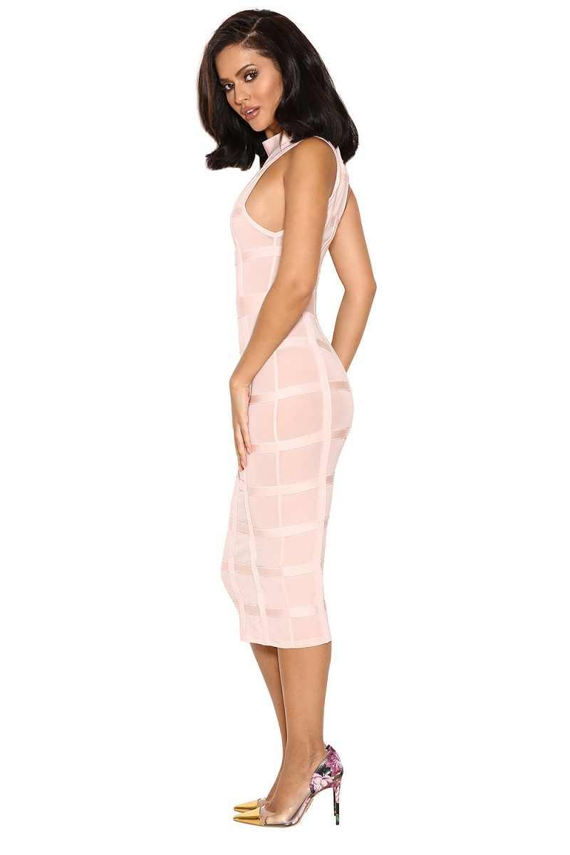 Leger Babe/женское платье коктейльное Пышное облегающее платье миди без рукавов с круглым вырезом, праздничная одежда со скидкой, розовые платья в клетку с повязкой
