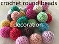50 PC/LOT Crochet Ronda Cuentas De Madera Color Mezclado Bola de Punto 16-20mm Delicado DIY Para El Collar De Artesanía Casa decoración de la Navidad