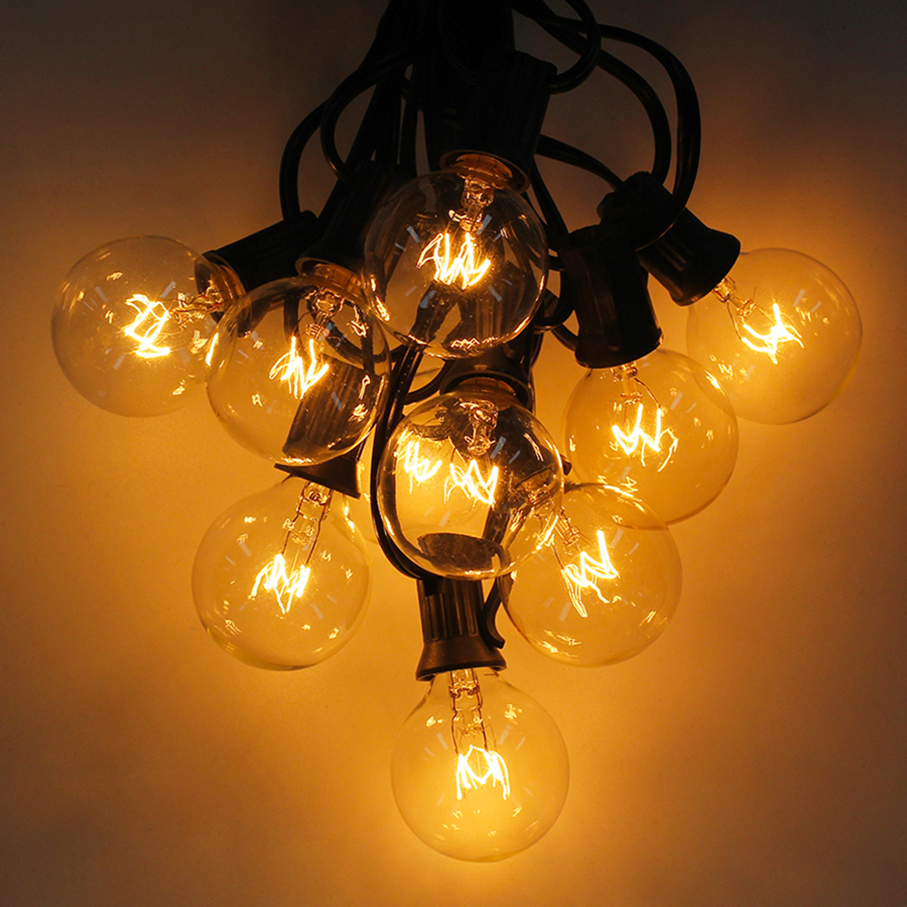 Warm White 25 Clear Bulbs G40 Globe String Lights EU/US Plug, Perfect For Indoor & Outdoor Decoration